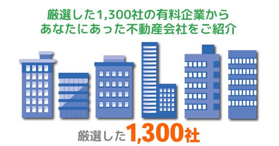 厳選した1300社の優良企業からあなたにあった不動産会社をご紹介