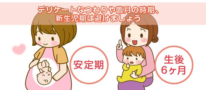 デリケートなつわりや臨月の時期、新生児期は避けましょう