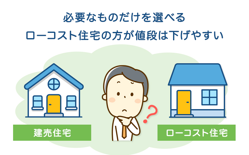 必要なものだけを選べるローコスト住宅の方が値段は下げやすい