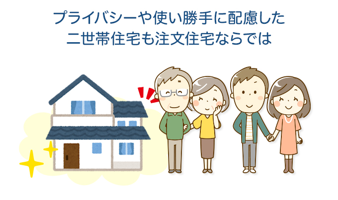 プライバシーや使い勝手に配慮した二世帯住宅も注文住宅ならでは
