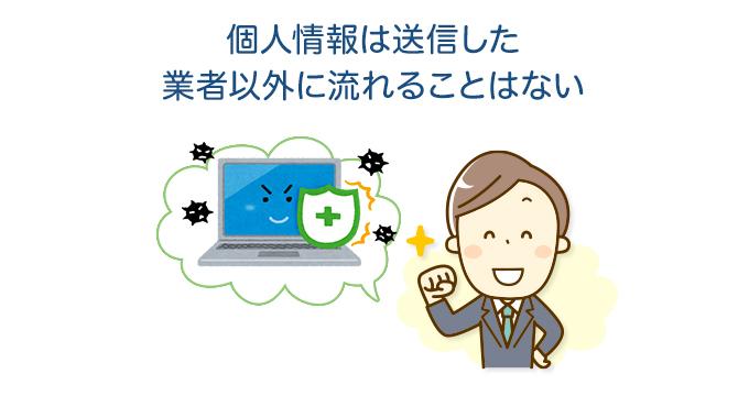 個人情報は送信した業者以外に流れることはない
