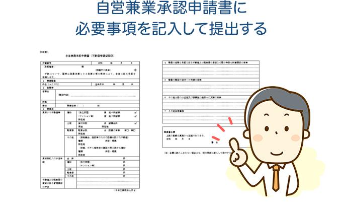 自営兼業承認申請書に必要事項を記入して提出する