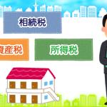 アパート経営による税金対策御三家:相続税・固定資産税・所得税のイメージ
